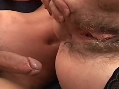 Mature hairy stepmom helping younger dong