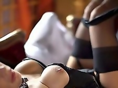 Very hawt golden-haired MILF in corset and nylons fucked slowly!