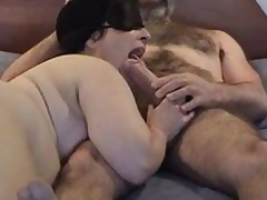 Masked chubby mature wife gives fine engulfing and licking  to her bushy hubby\'s large penis - short but sweet