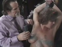 Dominant Old Fellow Tortures Her Aged Wife's Large Natural Knockers