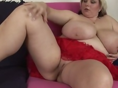 Chunky older blond Juliana shows it all