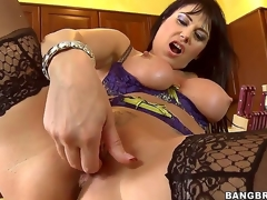 Beautiful Eva Karera is one of the hottest milfs you could ever ask for! Shes freaking horny and in need of a big cock, and fingering herself doesnt help. Luckily, her neighbour drops by...
