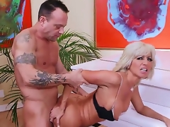 Mature smoking hot blond cougar Tara Holiday with firm hooters and slim sexy body in underware and high heels seduces impressive randy stud Kurt Lockwood and gets nailed by piano.