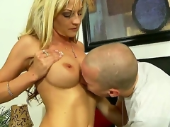 Turned on experienced seductive blonde milf Sindy Lange with massive stunning hooters and tight ass in arousing lingerie receives her ravishing pussy liked by younger sexually excited handsome stud