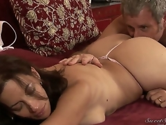 Turned on experienced pornstar Jay Crew enjoys licking stylish seductive brunette milf Melissa Monet with big juicy ass and massive natural knockers in wild arousing session