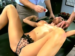 Two horny and really aroused chaps Jordan Ash and Manuel Ferrara get their hands on a grogeous dark brown milf in blue dress Veronica Avluv and undress her, revealing her big boobs