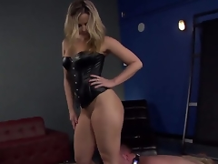 Pretty and indeed sexy slaver blonde Alexis Texas with awesome shaped body and hot large ass makes her slave boy Jeremy Conway crawl and take up with the tongue her heels on the floor