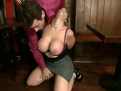 Slaver turned on renowned pornstar James Deen receives his inflexible pecker sucked by lusty experienced milf Sara Jay with giant stunning hooters in steaming sexy coarse oral pleasure session