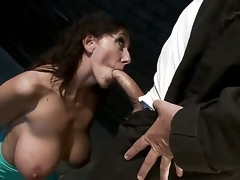 Experienced turned on pornstar Mark Davis with unyielding lengthy ramrod treats rough cock hungry whorish milf Alia Janine with heavy hooters and amazing oral skills in deep throat session