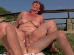 Stripped mature fattie Manyika has unthinkable sex with young fellow in the outdoors. That babe licks fellows asshole and then this guy sticks his dick in her many times used fuck hole. Watch her receive hardcored in the sun