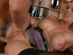 Ideal boobed milf Tanya Tate bares her cans and gives blowjob to hawt man previous to she acquires naked. Then lovely MILF in black stockings acquires her constricted hairless pussy pumped full of cock