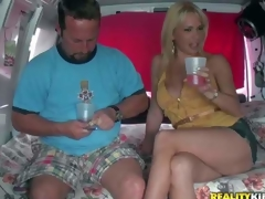 Provocative cheep looking blond milf with delightful arse and wonderful hooters in short slutty denim petticoat gets lured by filthy experienced dude in his fuck van on a slothful afternoon