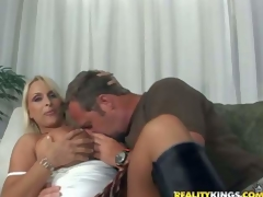 Hunky and horny lad with a fetish for mature women seduces one indeed hot and arousing busty blonde milf and acquires her to his apartment for a hot jock riding session on the couch