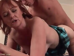 Mature redhead drilled in her hot cunt