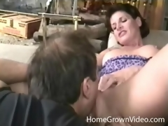 Milf with awesome perky billibongs licked by her guy