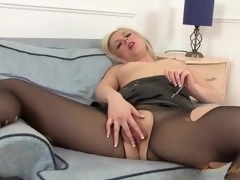 Leather skirt and pantyhose on hawt milf