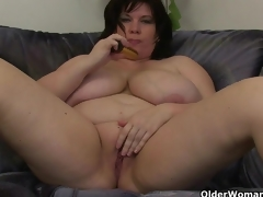 Chubby moms with large whoppers having solo sex