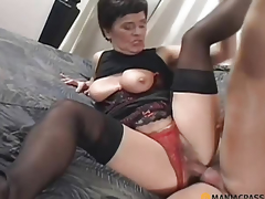 Pushing her panties shoves his penis