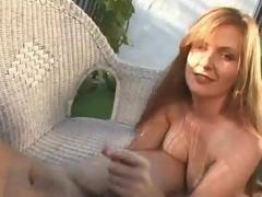 Ginger outdoor hand job