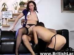 Wild 3some for mature British lady in high heels