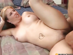 Woman with bushy cum-hole fucking with a dude