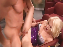 Curly boy bonks gal in her tender cum-hole