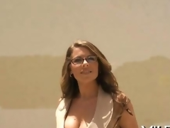We love to look at her round tits