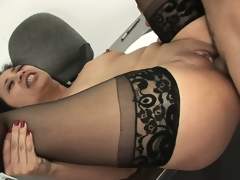 Lying on her back, she widens her pantyhosed legs relishing his pecker unfathomable in her twat