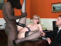 Large darksome male is doing something incredible with the cunt of nice milf