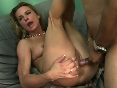 The hot golden-haired spreads her sweet legs and allows that large cock unfathomable in her snatch
