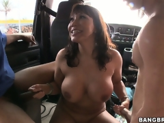 Gang-bang in the back of a bus with Ava Devine and 3 horny schlongs