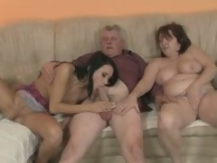 Slutty gf rides his dad's old wang