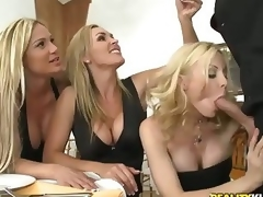 3 beautiful milfy blondes Tyler Faith. Holly Sampson and Tanya Tate are very curious about waiter Vooddoo and his large cock. They pull out his sausage and turn dinner into CFNM orgy! They blow. stroke and ride his large cock with passion!