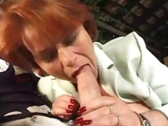 Aged fat redhead takes a double penetration